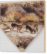Deer Crossing Two Wood Print