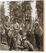 Deer Hunters  With Rifles Circa 1917 Wood Print