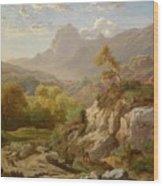 Deer In A Wide Mountain Wood Print