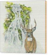 Deer In The Mist Wood Print