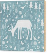 Deer In The Woods Wood Print