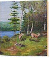 Deer Meadow Wood Print