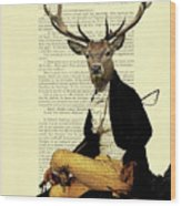 Deer Regency Portrait Wood Print