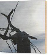 Deer Skull In Wire Wood Print