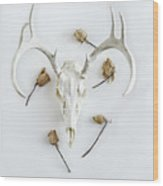 Deer Skull With Antlers And Roses Wood Print