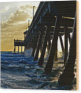 Deerfield Beach Pier At Sunrise Wood Print