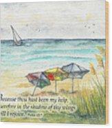 Deerfield Beach Umbrellas Psalm 63 Wood Print