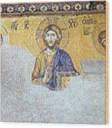 Deesis Mosaic Of Jesus Christ Wood Print