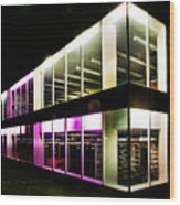 Defiance College Library Night Time Wood Print