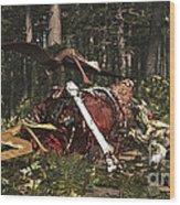 Deinonychus & Coloborhynchus Birds Feed Wood Print