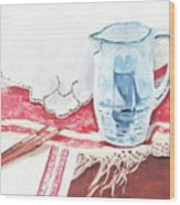 Delft And Linens Wood Print by Kathryn B