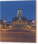 Delft Blue Wood Print