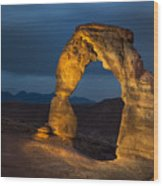 Delicate Arch At Night Wood Print by Adam Romanowicz