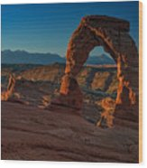 Delicate Arch At Sunrise Wood Print
