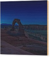 Delicate Arch In The Blue Hour Wood Print