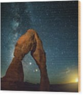 Delicate Arch Moonset Wood Print