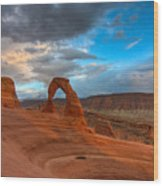 Delicate Arch Sunset Wood Print by Jeff Clay