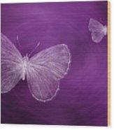 Delicate Butterflies Purple Wood Print