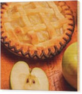 Delicious Apple Pie With Fresh Apples On Table Wood Print