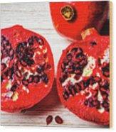 Delicious Pomegranate Wood Print