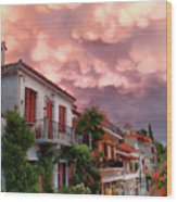 Delphi Greece Sunset Wood Print