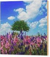Delphinium Daydreams Wood Print