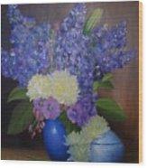 Delphiniums In Blue Vase Wood Print