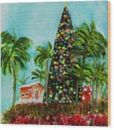 Delray Beach Christmas Tree Wood Print