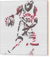 Demar Derozan Toronto Raptors Pixel Art 7 Wood Print