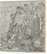 Democritus Mediterend, Jonas Umbach, 1634 - 1693 Wood Print