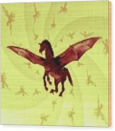 Demon Winged Horse Wood Print