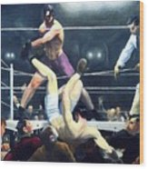 Dempsey And Firpo Wood Print by Pg Reproductions