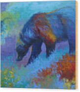 Denali Grizzly Bear Wood Print by Marion Rose