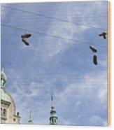Denmark, Copenhagen, Amager Torv, Shoes Wood Print