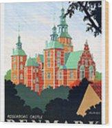 Denmark, Rosenborg Castle, Vintage Travel Poster Wood Print