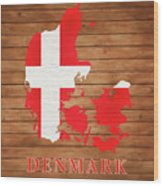 Denmark Rustic Map On Wood Wood Print