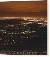 Denver Area At Night From Lookout Mountain Wood Print