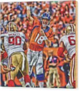 Denver Broncos Peyton Manning Oil Art Wood Print