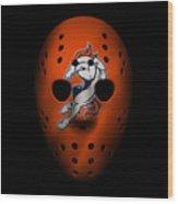Denver Broncos War Mask 2 Wood Print