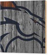 Denver Broncos Wood Fence Wood Print