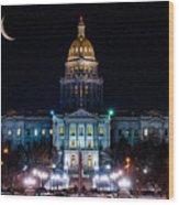 Denver Capital Nights Wood Print