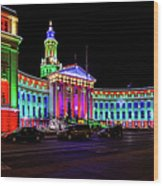 Denver City County Building Holiday Lighting. Wood Print