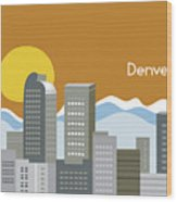 Denver Colorado Horizontal Skyline Print Wood Print