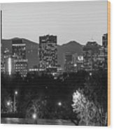 Denver Colorado Skyline Wide Angle Black And White Wood Print