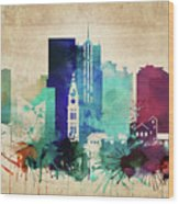 Denver Colorado Vintage Skyline Wood Print