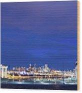 Denver Night Skyline Wood Print