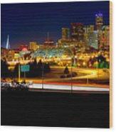 Denver Night Skyline Wood Print by James O Thompson