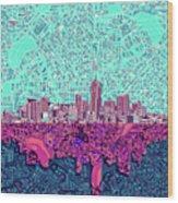 Denver Skyline Abstract 7 Wood Print
