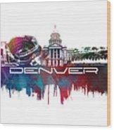 Denver Skyline City Blue Wood Print