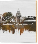 Denver Skyline City Brown Wood Print